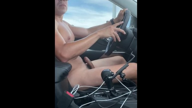 Gay side zip boots Very risky driving naked and cumming on side of the road