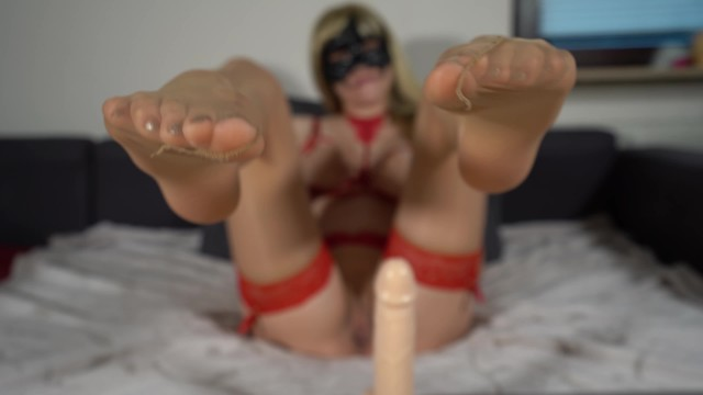 Jerk off front of them Jerk of instruction - jerk your cock to my nylon feet and cum all over them