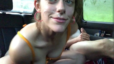 MILF takes a facial in truck & happily cleans up his mess