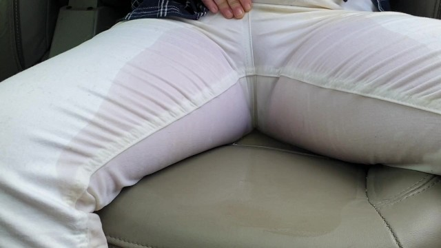 Casual home nudist Alice - casually peeing jeans while walking, then wetting the car seat
