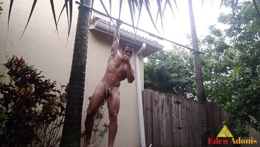 Man Soaking Wet & Naked in the Rain While Doing Pull-ups Eden Adonis