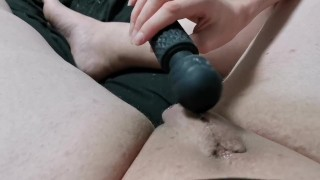 Mistress super glues dick into vagina and hits it making sissy to piss