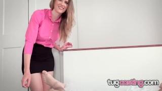 TUG CASTING - Hairy Pussy Thot Ashley Lane Gets Facialized