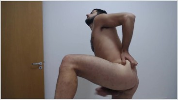 ASS, HOLE AND CUM from hairy uncut bubble butt brazilian stud