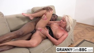 Blonde mature opens her ass with a toy and a Big Black Cock!