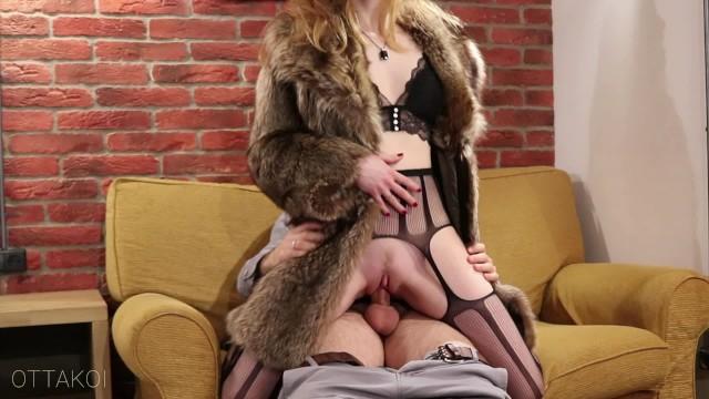 Vintage royal crown cola Intence vintage style sex with sexy chick in luxury fur coat - otta koi