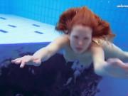 Katka Matrosova swimming naked alone in the pool