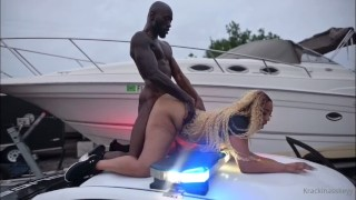 Big Booty Ebony Takes Officers BBC In Broad Day Light