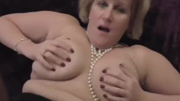 Big tit Mature Step Mum Slut in stockings and wearing pearls takes cock.
