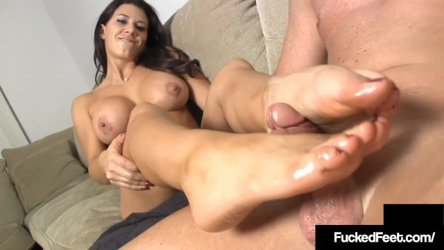 Pornstar leena Tan brunette leena sky gets her hot feet worshiped fucked