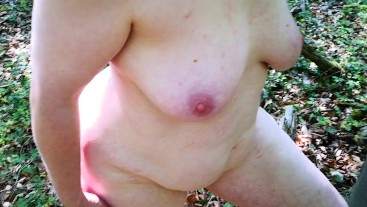 Very hard tit flogging outdoor - completely naked