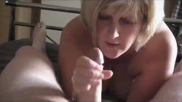 Nasty Step Mom takes sons hot cum in her mouth. He films it to show his mates.