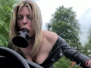 Slut-Orgasma Celeste dildo deep throat on a rainy day on her car window