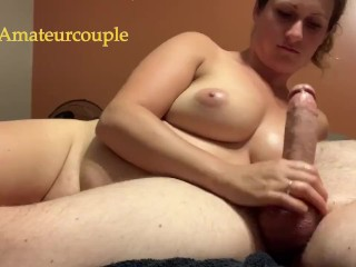 Amateur milf loves jerking oiled cock and cum on tits