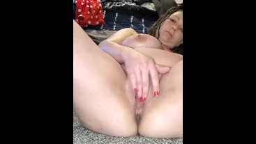 My wife rubbing her tight pussy for me