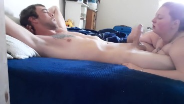 Waking Him Up With A Surprise Blowjob