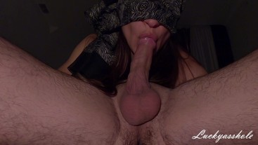 Young stepsister swallows sperm after a leisurely deep throat training.