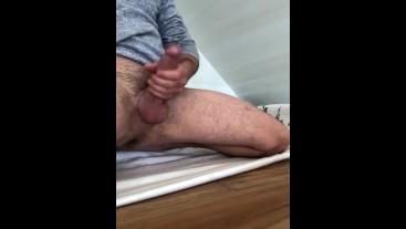 Solo male jerking off, huge cock cumming, big cumshot , big dick