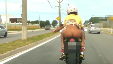 MINI SKIRT NO PANTIES AT MOTORBIKE