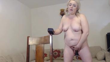 10 inch BBC gives eye rolling orgasms on fuck machine