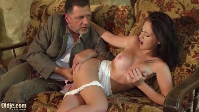 Grandpa gets pussy Teen brunette hard sex with horny grandpa on the couch