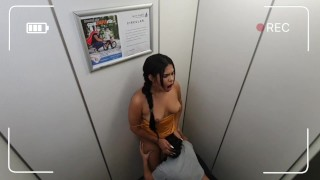 two hot girls stuck in the elevator having public sex