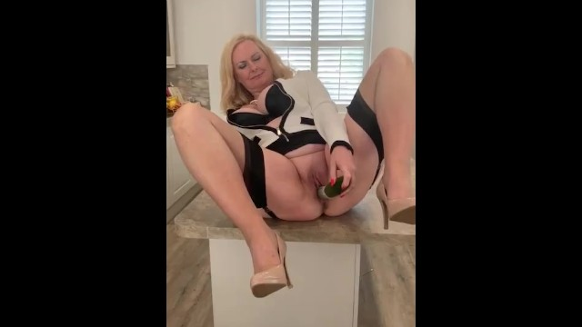 Mature ethnic models Annabel and the big cucumber