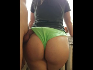 scortching hot slut by the window, cum on her panties