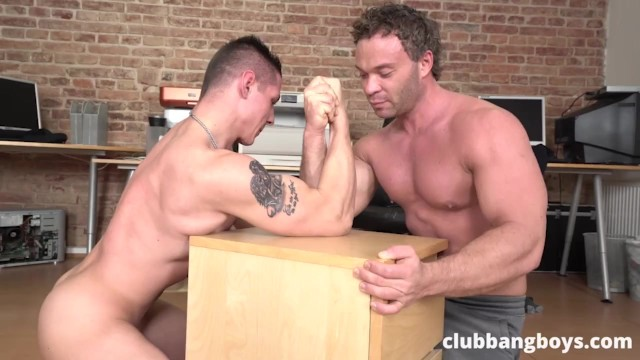 Private gay video the club Fit dudes vs big boys arm wrestling