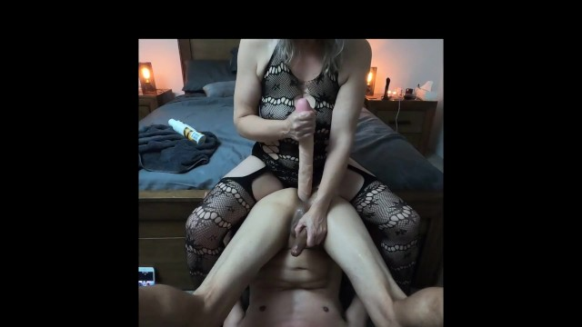 Rear enders anal toys She just loves stuffing his ass with the big double ender dildo - min moo