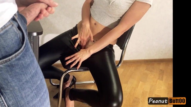 Asian leather pants Teaser wet looking leather pants mutual masturbation, legs fuck, shoejob, cum on clothes