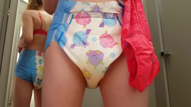 Breast in bras Diaper girl wets herself while shopping bras and panties