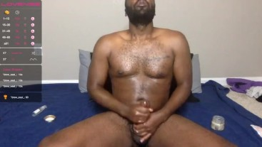 Lubed Up BBC Edges and Plays with His Toys on Camera (Livestream)