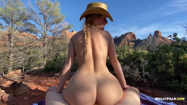 Big tited grandmas Cowgirl rides big cock in the mountains - molly pills - public adventure sex pov