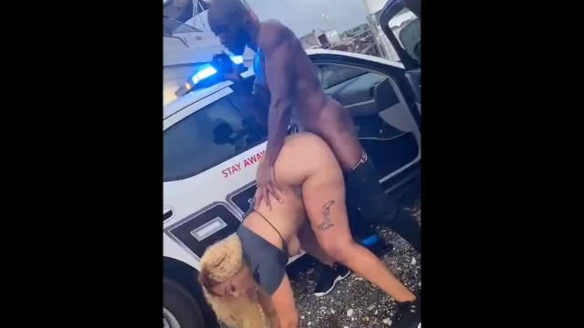 Car photo police vintage Ebony fucked on top of cop car