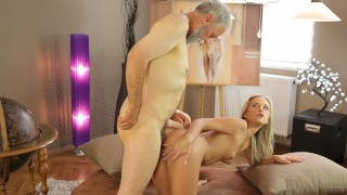 OLD4K Young college girl comes to old teachers house for sex