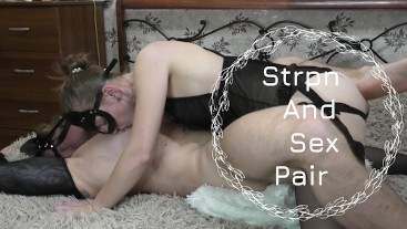 Passionate and deep fucked him with a strap on