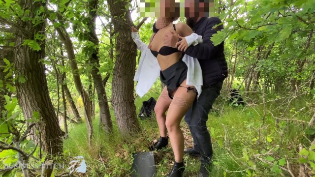 Teen down blouse shots Sexy secretary used outdoors in the woods - rough ripping her white blouse