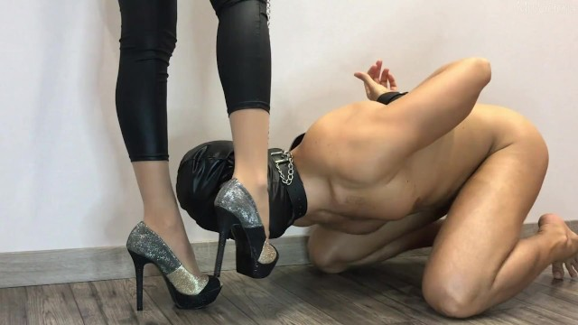 Leda femdom clips Femdom high heels worship. ballbusting. multiple ruined orgasm and cum eating.