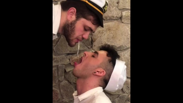 In gay pornos He spits my cum in my mouth - seba terry
