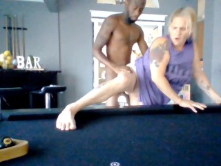 Blondie Milf Banged On Pool Table and Facialized