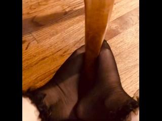 Feet rubbing/foot fetish/and chair feet ruffled stocking