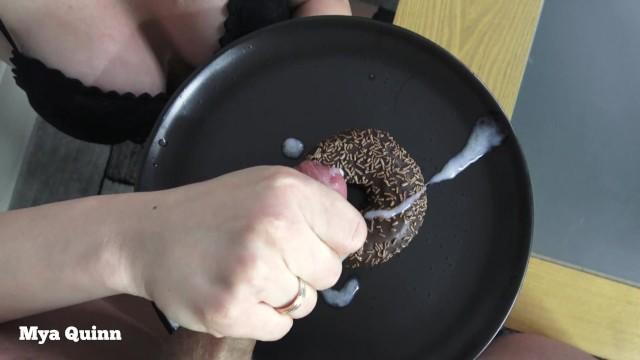 Porn food spit Cum on food - eating sperm chocolate doughnut and spit blowjob - mya quinn