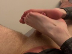 College girl from Tinder gives me a footjob and let's me film it!