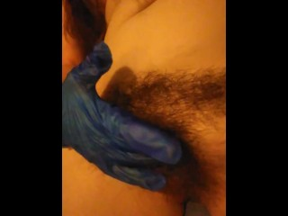 GIRL CUMS Solo Fingerfuck Blue Latex Glove Wet Hairy Pussy Gspot Finger Fingering Gush Pink Custom