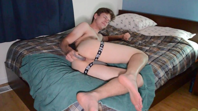 For gay parenting College twink uses his dildos with parents home