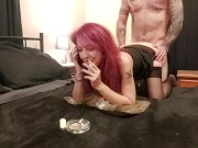 BORED SMOKING FUCK - MILF Cucks Husband on Phone to Her Lover