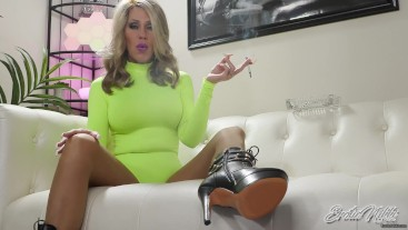 Smoking In Leotard And Ankle Boots - Nikki Ashton