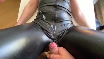 horny amateur stepmom gets fucked on the table in her shiny catsuit and a nice load of cum
