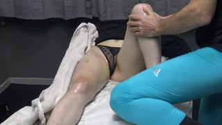 Famous Fitness Model Seduce her Masseur as Wearing Transparent Panties at the Massage Bed !